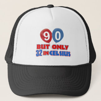 90th year birthday designs trucker hat