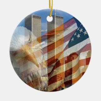 911 eagle flag towers christmas ornament