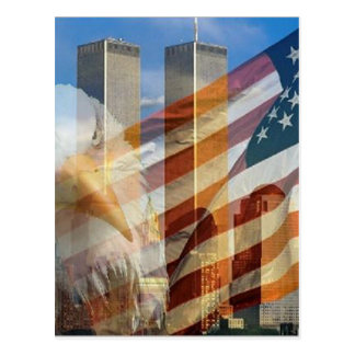 911 eagle flag towers postcard