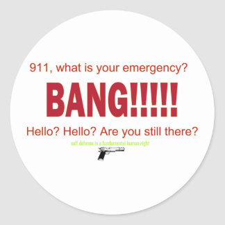 911, what is your emergency? classic round sticker