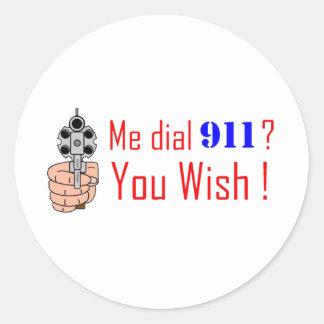 911 you wish classic round sticker