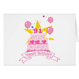 91 Year Old Birthday Cake Greeting Card