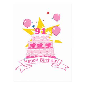 91 Year Old Birthday Cake Postcard