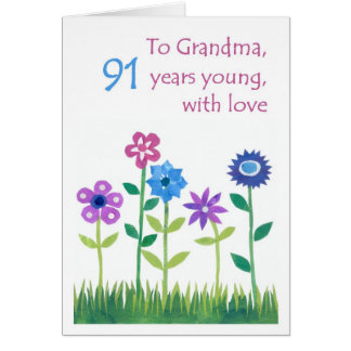 91st Birthday Card for a Grandmother - Flowers
