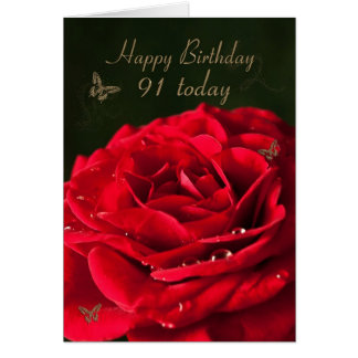 91st Birthday Card with a classic red rose
