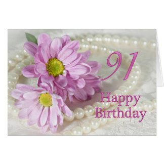 91st Birthday card with daisies