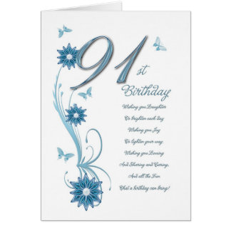 91st birthday in teal with flowers and butterfly greeting card