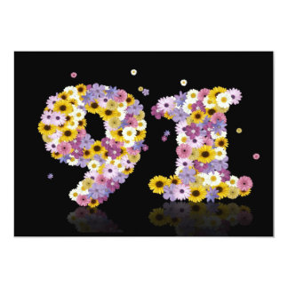 """91st Birthday party, with flowered letters 5"""" X 7"""" Invitation Card"""