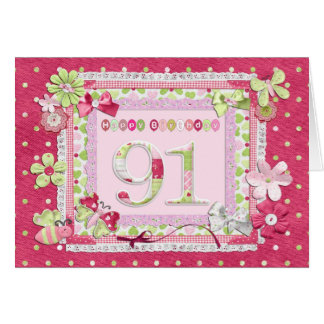 91st birthday scrapbooking style greeting card