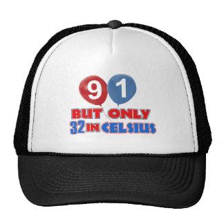91st year birthday designs mesh hat