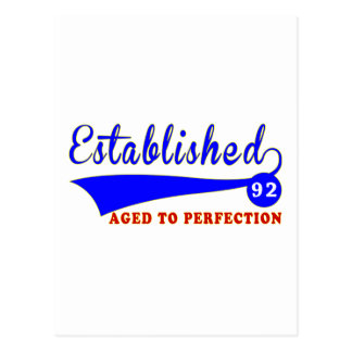 92 Birthday Aged To Perfection Postcard