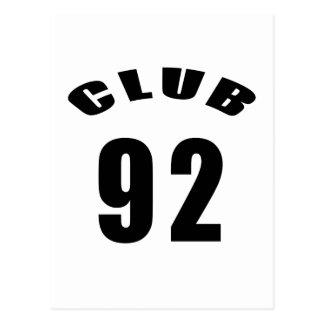 92 Club Birthday Designs Postcard