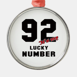 92 It's my lucky number Silver-Colored Round Decoration