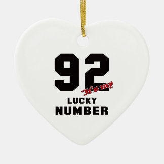 92 It's my lucky number Ceramic Heart Decoration