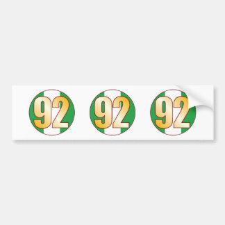 92 NIGERIA Gold Bumper Sticker
