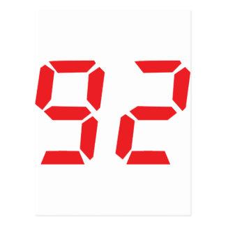 92 ninety-two red alarm clock digital number postcards