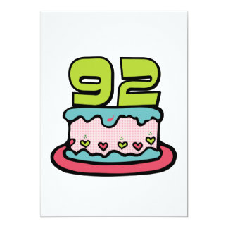 92 Year Old Birthday Cake 13 Cm X 18 Cm Invitation Card