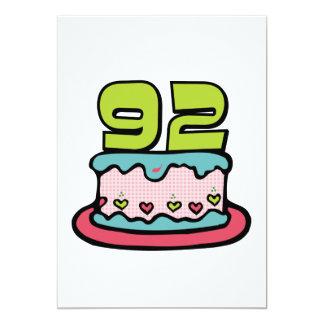 92 Year Old Birthday Cake 13 Cm X 18 Cm Invitation Card