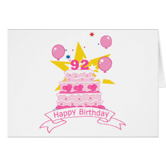 92 Year Old Birthday Cake Card