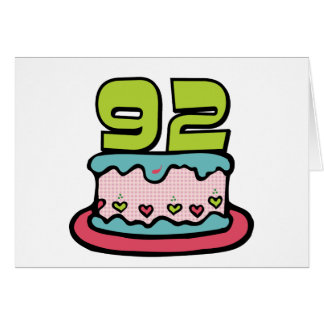 92 Year Old Birthday Cake Greeting Card