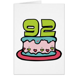 92 Year Old Birthday Cake Greeting Card