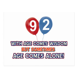 92 year old wisdom birthday designs postcard