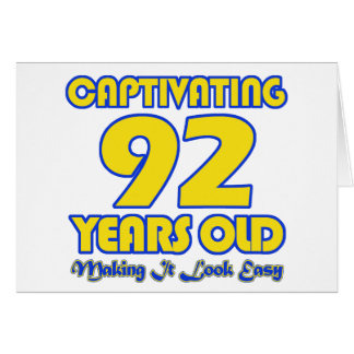 92 YEARS OLD BIRTHDAY DESIGNS GREETING CARD