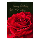 92nd Birthday Card with a classic red rose