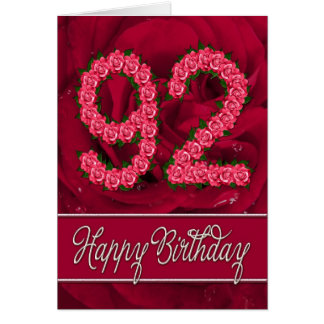 92nd birthday card with roses and leaves