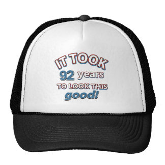 92nd birthday designs cap