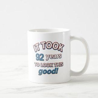 92nd birthday designs mugs