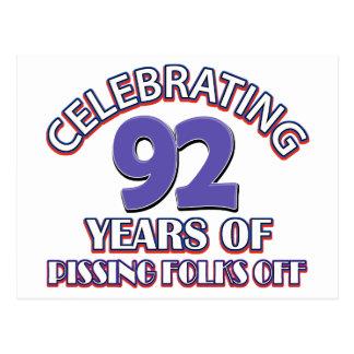 92ND birthday designs Postcard