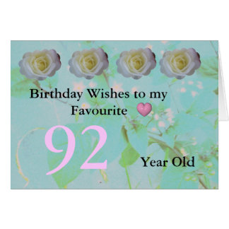 92nd Birthday Greeting Card