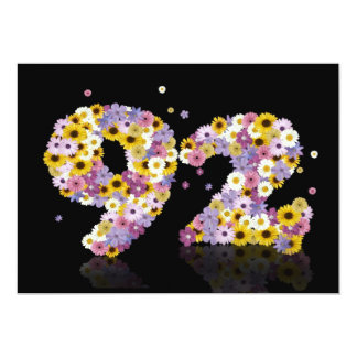 92nd Birthday party, with flowered letters Custom Announcement