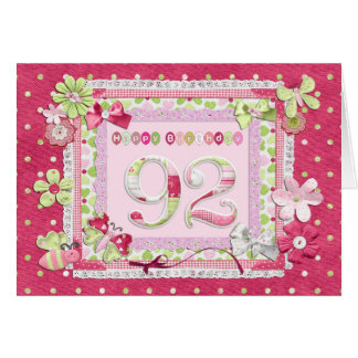 92nd birthday scrapbooking style greeting card