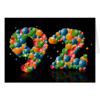 92nd birthday with numbers formed from balls greeting card