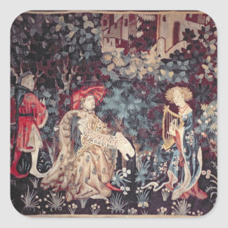 930 The Concert, Tapestry from Arras, 1420 Square Sticker