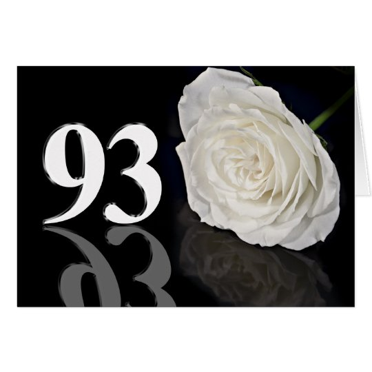 93rd Birthday Card with a classic white rose