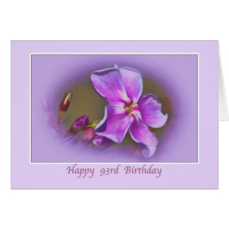 93rd Birthday Card with Pink and Lavender Florals