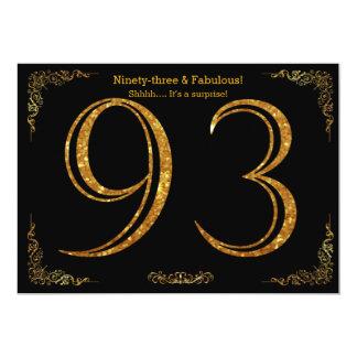 93rd Birthday party,Gatsby styl,black gold glitter Card