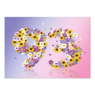 93rd Birthday party, with flowered letters Custom Announcement