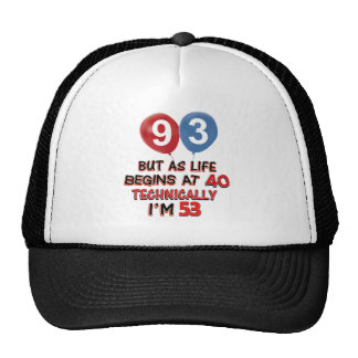 93rd year birthday designs hats