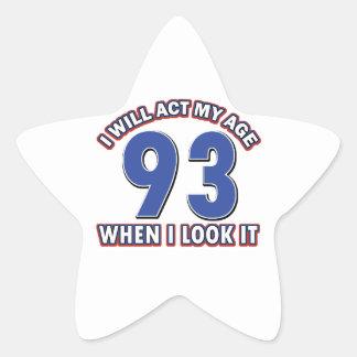 93rd year birthday party star sticker