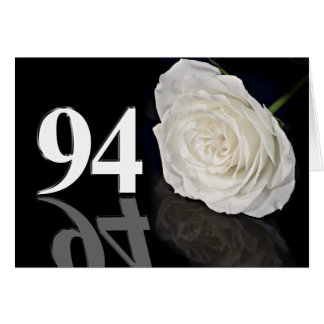 94th Birthday Card with a classic white rose