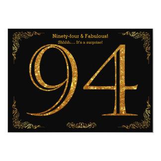 94th Birthday party,Gatsby styl,black gold glitter Card