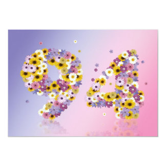 94th Birthday party, with flowered letters Announcement