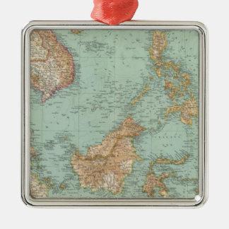 9596 Indocina, Siam, Arcipelago Malese Silver-Colored Square Decoration