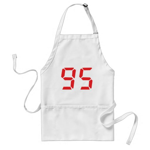 95 ninety-five red alarm clock digital number aprons