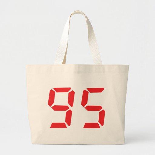 95 ninety-five red alarm clock digital number bag