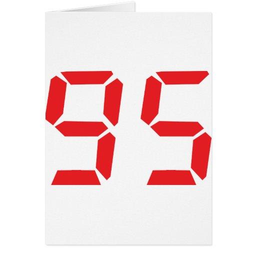 95 ninety-five red alarm clock digital number card